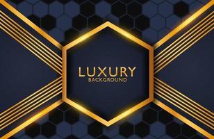 fundo elegante luxuoso com composição de linhas e forma de hexágono de ouro preto. layout de apresentação de negócios vetor