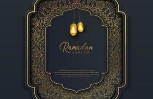banner de fundo preto e dourado luxuoso com ornamento de mandala de arabescos islâmicos em superfície escura vetor