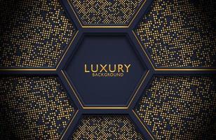 decoração de luxo realista abstrata texturizada com padrão de pontos dourados. Pano de fundo 3D, modelo de layout de capa de design de convite de casamento com espaço de cópia. vetor
