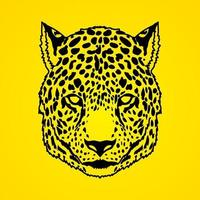 chita leopardo vista frontal vetor