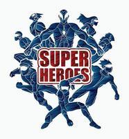 super-herói masculino e feminino ação vetor