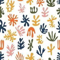 moderno conjunto contemporâneo de padrão sem emenda de algas pintadas à mão artística minimalista geométrica abstrata. vetor