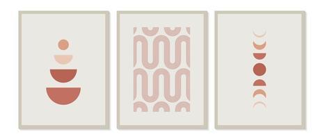 Impressão de arte minimalista moderna de meados do século com forma orgânica natural. abstrato base estética contemporânea com fases geométricas da lua, linhas de sol, tons de terra. vetor