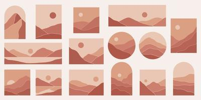 ilustrações estéticas de paisagens de montanha abstratas minimalistas contemporâneas. decoração de parede de estilo boêmio. vetor