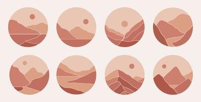 ilustrações estéticas de paisagens de montanha abstratas minimalistas contemporâneas. capas de destaques boêmios. coleção de gravuras artísticas de meados do século para histórias vetor