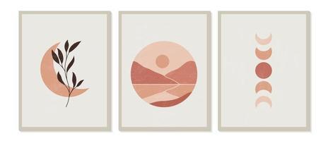 conjunto contemporâneo moderno de composição de paisagens de montanha pintadas à mão artística minimalista geométrica criativa abstrata, fases da lua e floral. cartazes de vetor para decoração de parede em estilo vintage