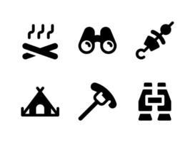 conjunto simples de ícones sólidos de vetor relacionados com acampamento. contém ícones como comida grelhada, tenda, churrasco, binóculos e muito mais.