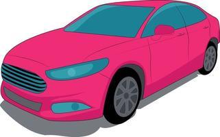 moderno carro rosa bonito em um fundo branco. vetor