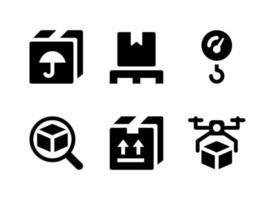 conjunto simples de ícones sólidos do vetor relacionado à logística. contém ícones como manter seco, rastreamento, carga, entrega de drones e muito mais.