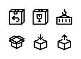 conjunto simples de ícones de linha do vetor relacionados à logística. contém ícones como pacote, caixa de vidro, recipiente, caixa aberta e muito mais.