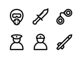 conjunto simples de ícones de linha do vetor militar relacionados. contém ícones como máscara de gás, faca, algemas, soldado e muito mais.