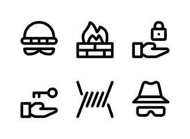 conjunto simples de ícones de linha do vetor relacionados à segurança. contém ícones como ladrão, firewall, bloqueio, farpado e muito mais.