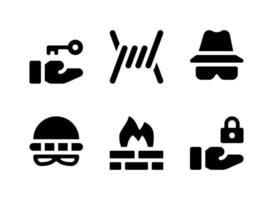 conjunto simples de ícones sólidos de vetor relacionados à segurança. contém ícones como farpado, ladrão, firewall, bloqueio e muito mais.