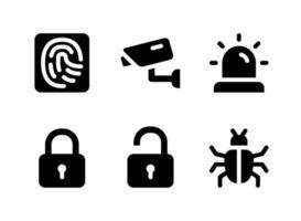 conjunto simples de ícones sólidos de vetor relacionados à segurança. contém ícones como impressão digital, bloqueio, desbloqueio, bug e muito mais.