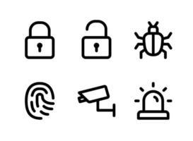 conjunto simples de ícones de linha do vetor relacionados à segurança. contém ícones como bloqueio, desbloqueio, bug, impressão digital e muito mais.