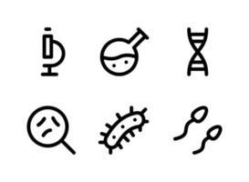 conjunto simples de ícones de linha de vetor relacionados a laboratório. contém ícones como microscópio, química, germes, esperma e muito mais.