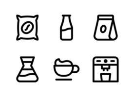 conjunto simples de ícones de linha do vetor relacionados ao café. contém ícones como saco de café, leite em garrafa, embalagem, café com leite e muito mais.