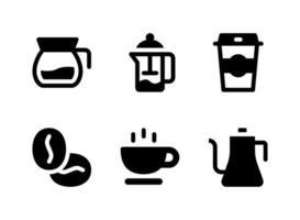 conjunto simples de ícones sólidos de vetor relacionados à cafeteria. contém ícones como jarro, xícara, grãos de café, chaleira e muito mais.