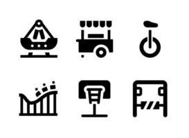 conjunto simples de ícones sólidos de vetor relacionados ao playground. contém ícones como swing ship, basquete, parque de diversões, montanha-russa e muito mais.