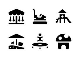 conjunto simples de ícones sólidos de vetor relacionados ao playground. contém ícones como slide, caixa de areia, cama elástica, cogumelo e muito mais.