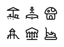conjunto simples de ícones de linha do vetor relacionados ao playground. contém ícones como caixa de areia, cama elástica, cogumelo, slide e muito mais.