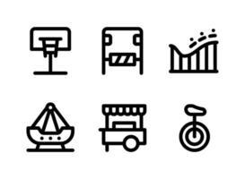 conjunto simples de ícones de linha do vetor relacionados ao playground. contém ícones como basquete, parque de diversões, montanha-russa, navio swing e muito mais.