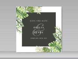 cartões de convite de casamento com design floral verde vetor