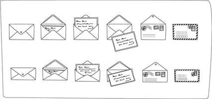 esboço cartão postal e envelope definido. modernos cartões postais desenhados à mão e envelopes com selos postais. Preto e branco. ilustrações vetoriais para web e impressão. vetor