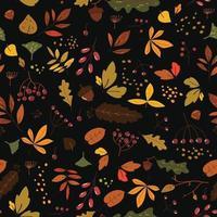 padrão sem emenda com folhas de outono em laranja, marrom e amarelo. design moderno bonito para tecido, papel de parede, papel de embrulho. estilo escandinavo repetiu o fundo preto com folhas. mão desenhar textura. vetor