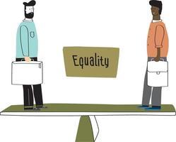 igualdade de preto e branco. duas pessoas são iguais. vidas negras importam. vetor