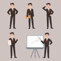 homem de negócios personagem pose conjunto de ilustração plana vetor