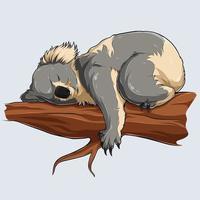 Coala fofo dormindo em um galho de árvore ilustrado com sombras e luzes vetor
