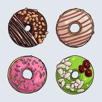 conjunto de diferentes donuts deliciosos com cobertura rosa, chocolate, pistache e creme vetor