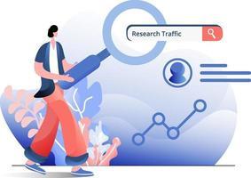 pesquisar tráfego ilustração plana vetor