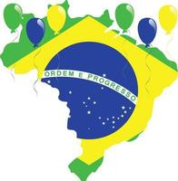 mapa da bandeira do brasil vetor