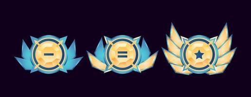 medalhas de distintivos de classificação de diamantes dourados arredondados brilhantes com asas de interface do usuário do jogo vetor