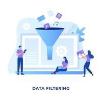 conceito de ilustração de filtragem de dados vetor