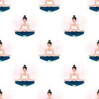 mulher meditando, padrão sem emenda de ioga vetor