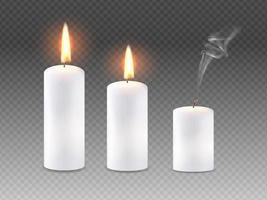 conjunto de velas acesas. vetor 3d realista.