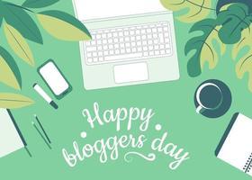 feliz dia do blogueiro. mesa de trabalho com laptop, telefone celular e acessórios de trabalho entre folhas verdes. vista do topo. vetor plano