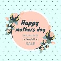 venda do dia das mães. descontos na loja para mercadorias, 50%. cartaz de vendas sazonais, cupom ou modelo de banner. ilustração vetorial plana vetor
