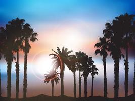 Paisagem de palmeira de verão vetor