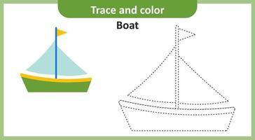 traçar e colorir barco vetor