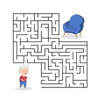 jogo de labirinto de avó bonito dos desenhos animados. labirinto. jogo divertido para a educação infantil. ilustração vetorial vetor