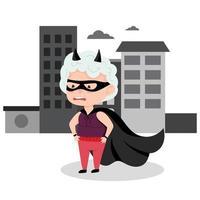 vovó em uma fantasia de super-herói. avó ativa, personagem engraçada. ilustração vetorial no estilo cartoon vetor