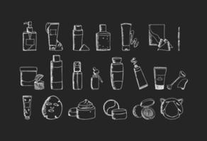 mão desenhado conjunto de produtos de cuidados da pele de beleza coreano preto e branco. elementos de design k-beauty. coleção de ícones cosméticos em preto e branco. ilustração vetorial isolada no fundo branco. vetor