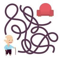 jogo de labirinto de avô bonito dos desenhos animados. labirinto. jogo divertido para a educação infantil. ilustração vetorial vetor