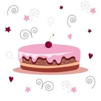 bolo doce com creme e cereja por cima. ilustração vetorial isolada em um fundo branco. vetor