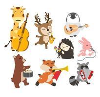 conjunto de animais alegres tocando desenho musical vetor