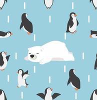 personagens de pinguins com padrão de ursos brancos vetor